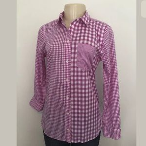 J. Crew Pink Gingham Cocktail Boy Fit Blouse